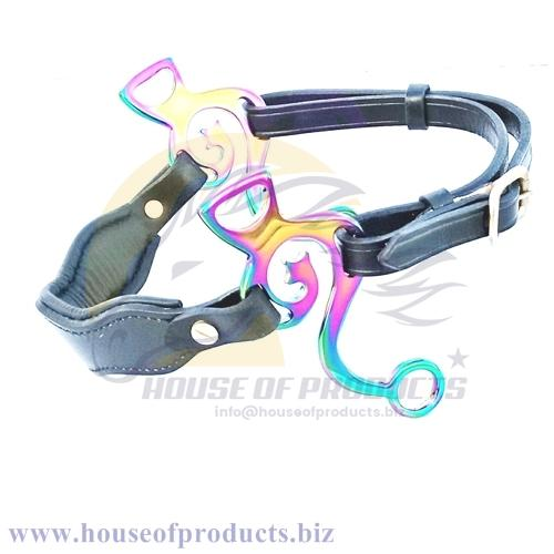 Rainbow multi colors Academic Hackamore with Leather
